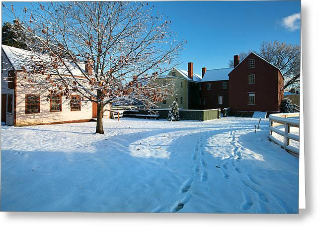 New England Village Scene Greeting Cards - Strawbery Banke Snow Greeting Card by Eric Gendron