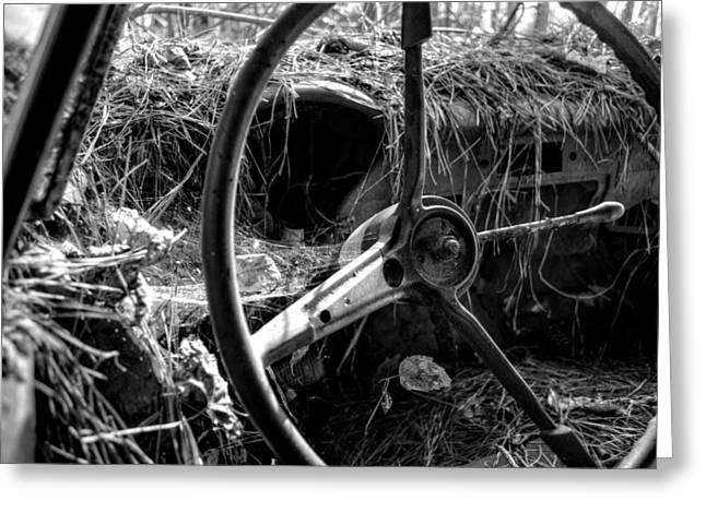Peddle Car Greeting Cards - Strawmobile in Black and White Greeting Card by Greg Mimbs