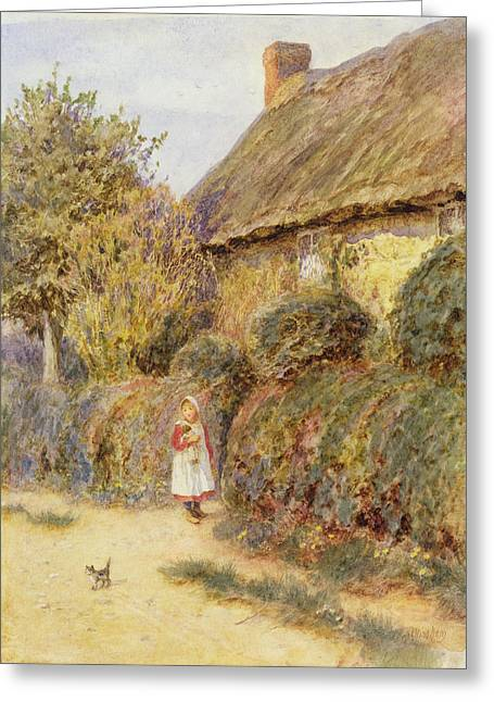 Thatch Greeting Cards - Straying Wc On Paper Greeting Card by Helen Allingham