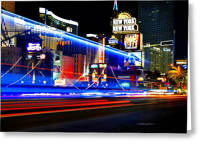 Las Vegas Art Greeting Cards - Streak on the Strip Greeting Card by David Lee Thompson