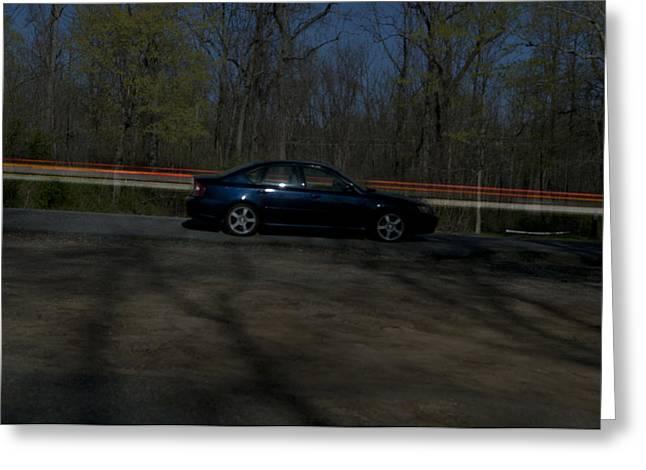 Blue Subaru Greeting Cards - Streaked Greeting Card by Ryan Crane