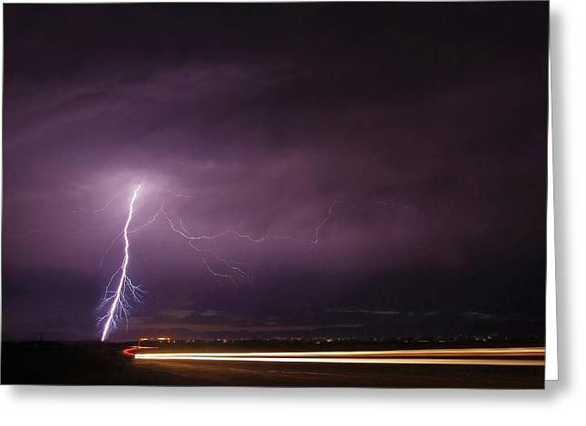 Thunderstorm Greeting Cards - Streaking Greeting Card by Zach  Roberts