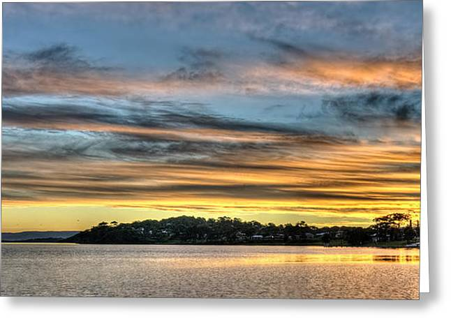 Color Enhanced Greeting Cards - Streaky Sunset - Wangi Wangi Greeting Card by Geoff Childs