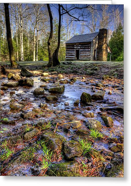 Old Cabins Photographs Greeting Cards - Stream Behind The Cades Cove Cabin Greeting Card by Michael Eingle