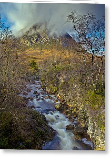 Buachaille Etive Mor Greeting Cards - Stream below Buachaille Etive Mor Greeting Card by Gary Eason