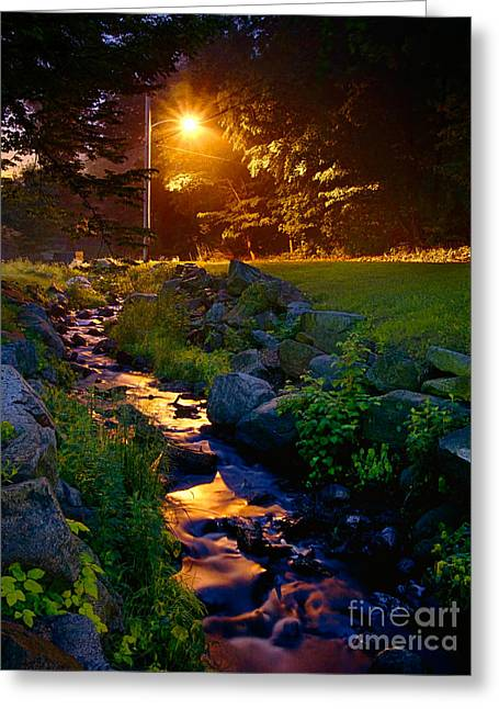 Streetlight Greeting Cards - Stream By Streetlight Greeting Card by Mark Miller