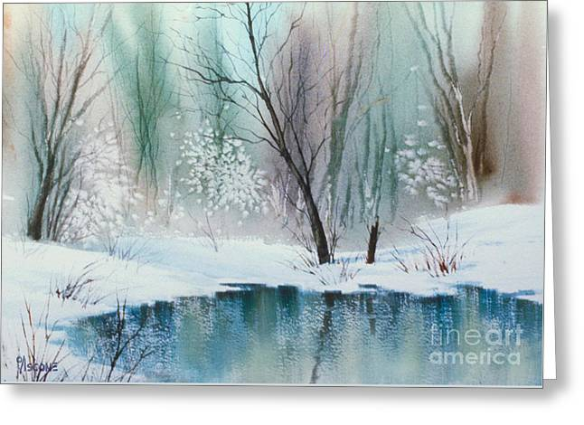 Snow-covered Landscape Greeting Cards - Stream Cove in Winter Greeting Card by Teresa Ascone