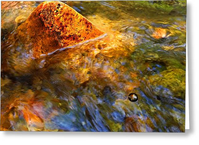 Clear Flowing Stream Greeting Cards - Stream Flow With Bubble Greeting Card by Terril Heilman