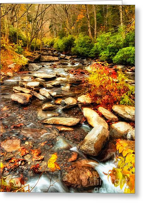 National Commercial Greeting Cards - Stream into Fall - Great Smokey Mountains Greeting Card by Dan Carmichael