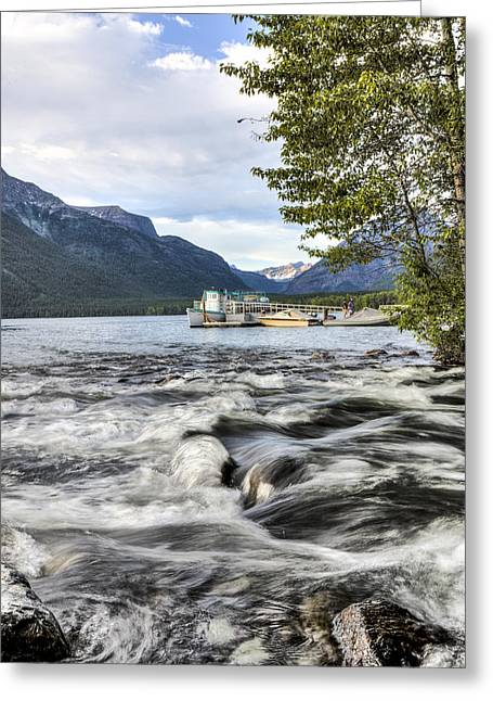 Stream Into Lake Mcdonald Greeting Card by John Harwood