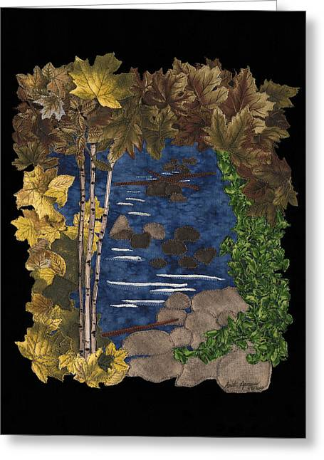 Yellow Leaves Tapestries - Textiles Greeting Cards - Stream of Tranquility Greeting Card by Anita Jacques