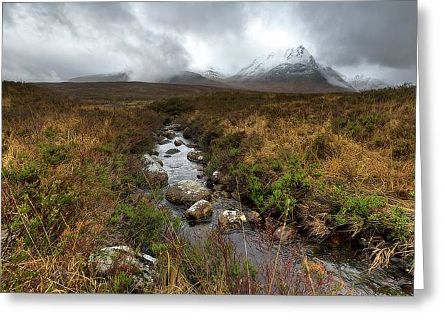 Rannoch Moor Greeting Cards - Stream on Rannoch Moor  Greeting Card by Gary Eason