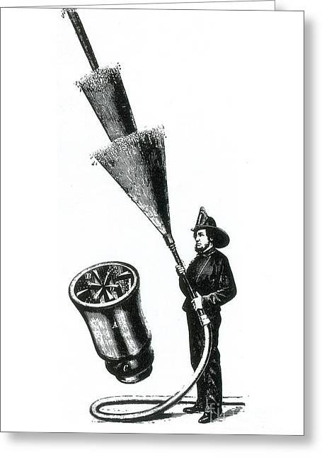 Brigade Greeting Cards - Stream Spreading Water Nozzle, 1865 Greeting Card by Science Source