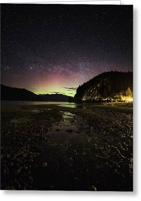Porteau Cove Provincial Park Greeting Cards - Stream To The Lights Greeting Card by Bun Lee