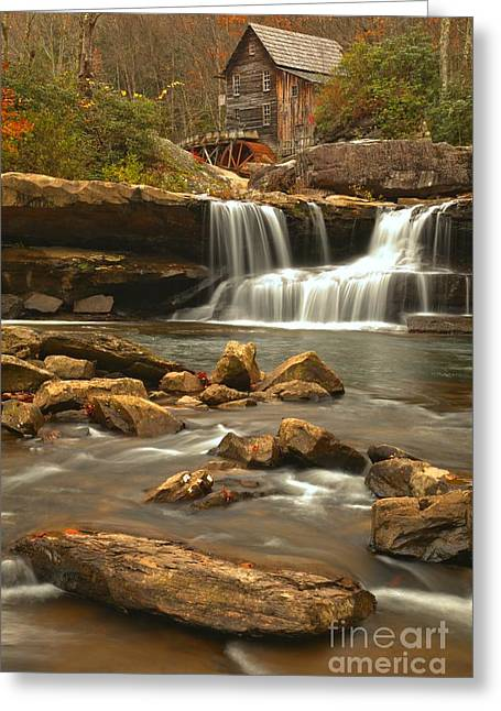 Grist Mill Greeting Cards - Streaming Below The Glade Creek Grist Mill Greeting Card by Adam Jewell