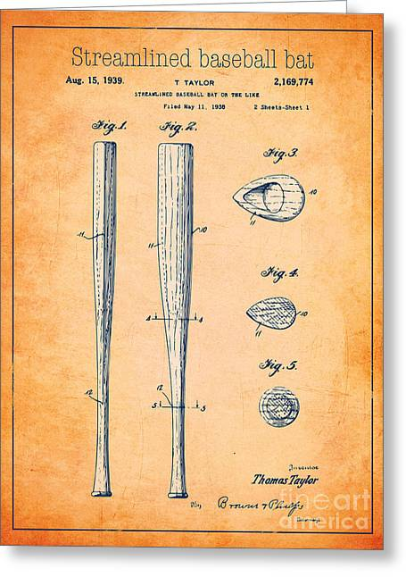 Baseball Bat Drawings Greeting Cards - Streamlined baseball bat or the like orange US 2169774 A Greeting Card by Evgeni Nedelchev