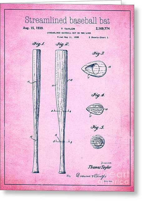 Baseball Bat Drawings Greeting Cards - Streamlined baseball bat or the like pink US 2169774 A Greeting Card by Evgeni Nedelchev
