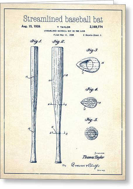 Baseball Bat Drawings Greeting Cards - Streamlined baseball bat or the like white US 2169774 A Greeting Card by Evgeni Nedelchev