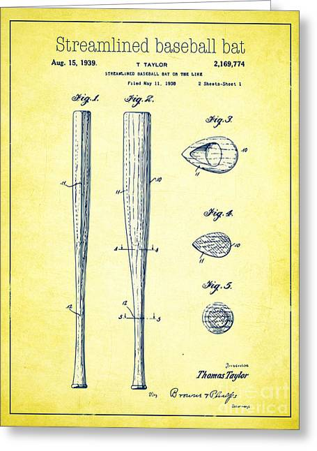 Baseball Bat Drawings Greeting Cards - Streamlined baseball bat or the like yellow US 2169774 A Greeting Card by Evgeni Nedelchev