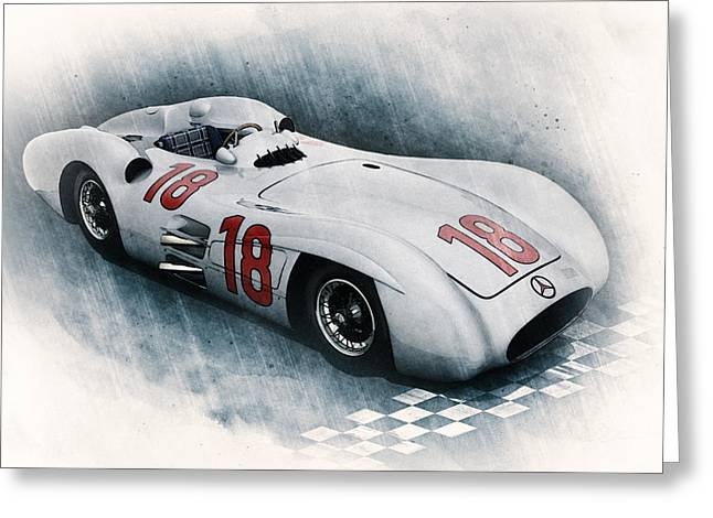 Stirling Moss Greeting Cards - Streamliner Greeting Card by Peter Chilelli
