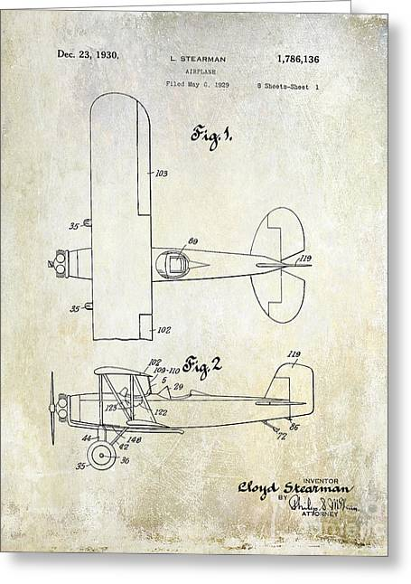 1929 Stearman Patent Drawing Greeting Card by Jon Neidert