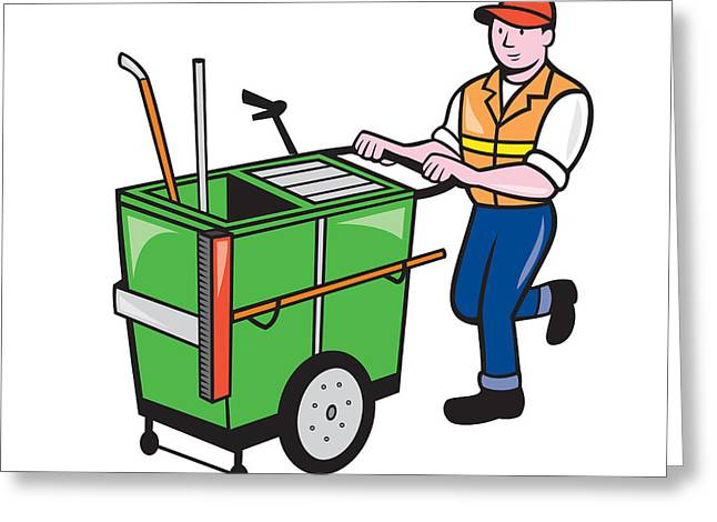Street Sweeper Greeting Cards - Streeet Cleaner Pushing Trolley Cartoon Isolated Greeting Card by Aloysius Patrimonio