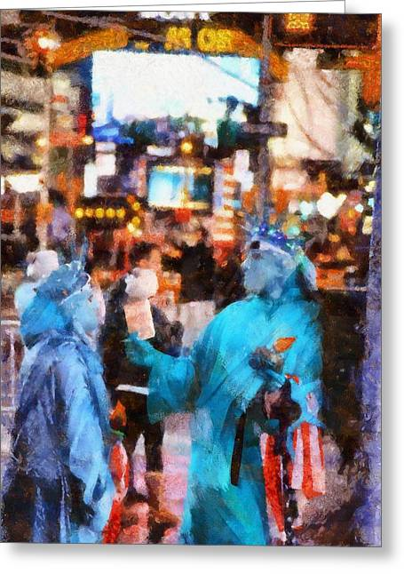 Street Performers Greeting Cards - Street Actors In Times Square Greeting Card by Dan Sproul