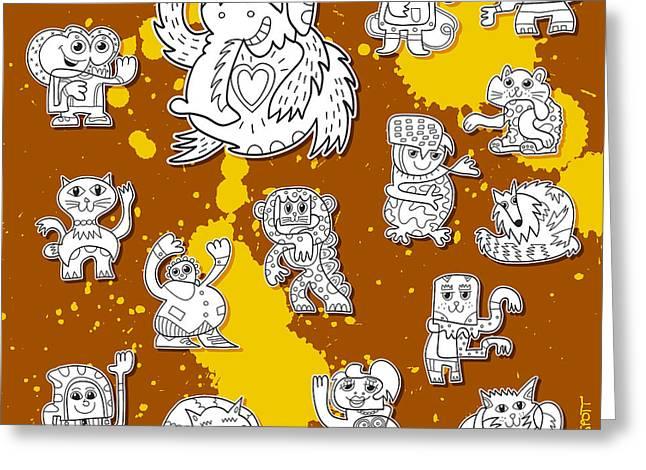 Grunge Greeting Cards - Street Art Doodle Creatures Urban Art Greeting Card by Frank Ramspott