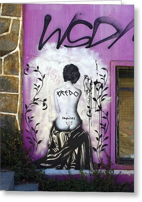 Nudes Photographs Greeting Cards - Street art Valparaiso Chile 8 Greeting Card by Kurt Van Wagner