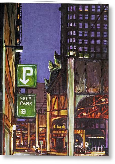 Film Noir Paintings Greeting Cards - Street at Night Self Park Greeting Card by Christopher Buoscio