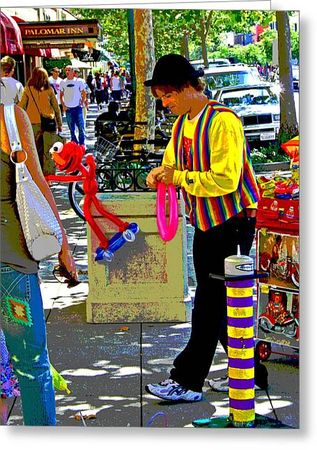 Santa Cruz Art Greeting Cards - Street Balloon Art Greeting Card by Joseph Coulombe