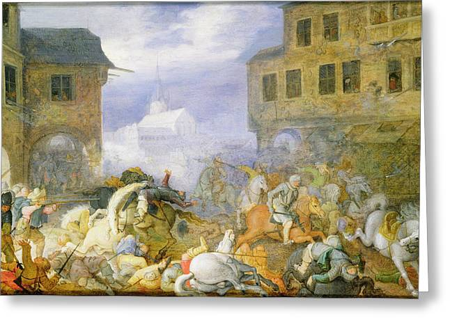 Charles Bridge Paintings Greeting Cards - Street Battle In The Malostranske Greeting Card by Roelandt Jacobsz. Savery
