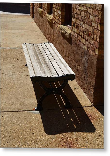 Citys Greeting Cards - Street Bench Greeting Card by David Deschamps