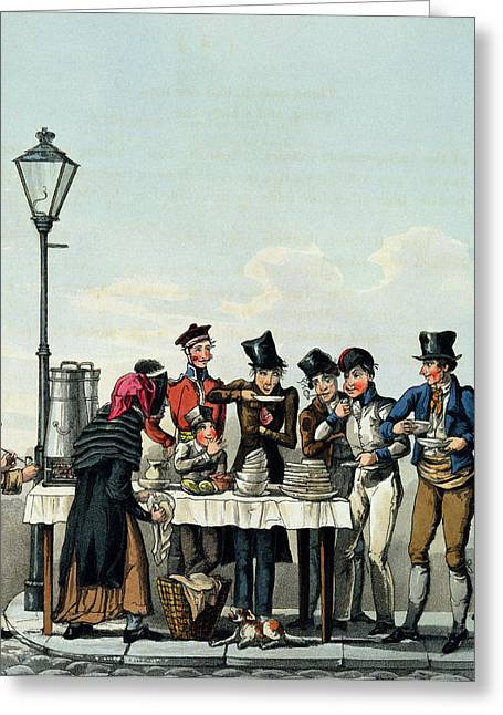 Street Breakfast Engraved By G.hunt Greeting Card by English School