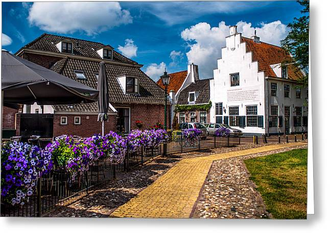 Het Greeting Cards - Street Cafe in Naarden. Netherlands Greeting Card by Jenny Rainbow