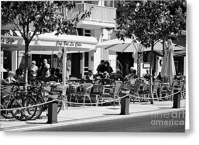 Al Fresco Greeting Cards - street cafes and bars Cambrils Catalonia Spain Greeting Card by Joe Fox