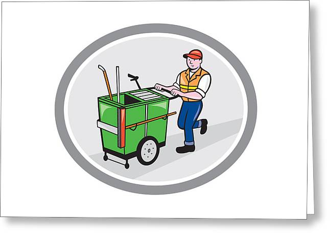 Street Sweeper Greeting Cards - Street Cleaner Pushing Trolley Oval Cartoon Greeting Card by Aloysius Patrimonio