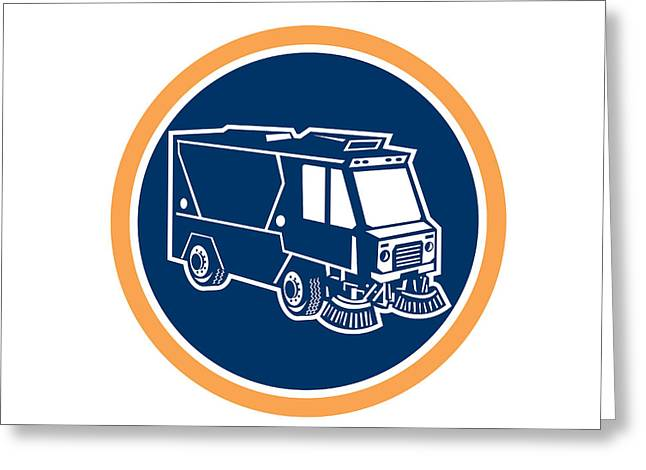 Street Sweeper Greeting Cards - Street Cleaner Truck Circle Retro Greeting Card by Aloysius Patrimonio