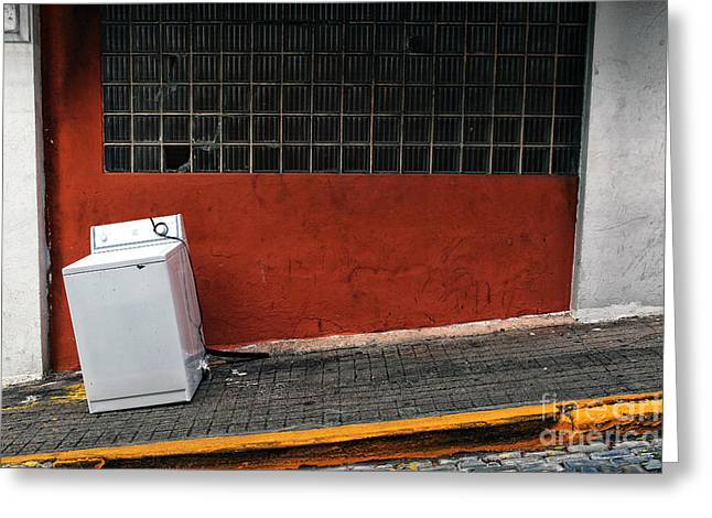Old San Juan Greeting Cards - Street Cleaning Greeting Card by John Rizzuto