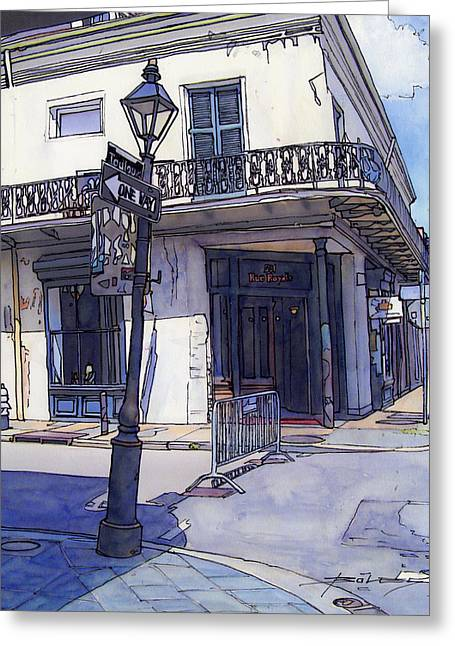 Streetlamp Drawings Greeting Cards - Street Corner 214 Greeting Card by John Boles