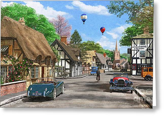 Thatch Digital Greeting Cards - Street Cottage Lane Greeting Card by Dominic Davison