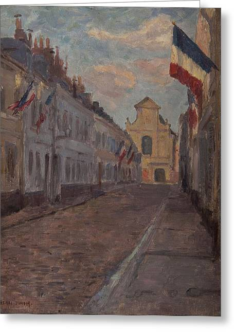 Church Street Greeting Cards - Street Decked With Flags Oil On Panel Greeting Card by Henri Duhem