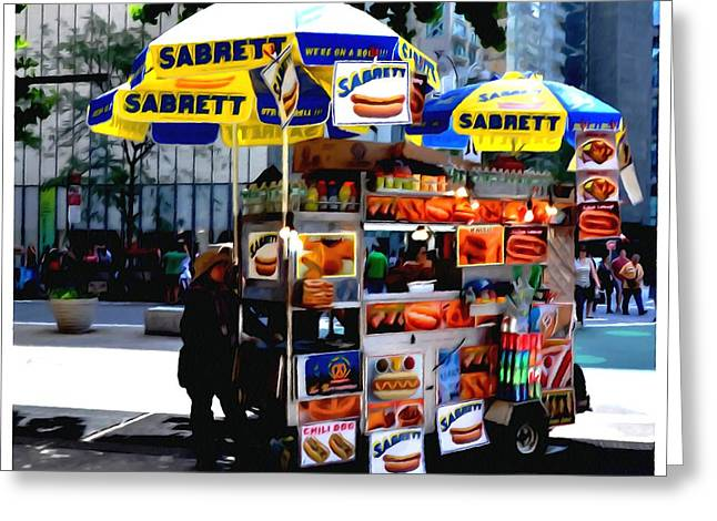 Speeding Taxi Greeting Cards - Street Food Greeting Card by Lanjee Chee