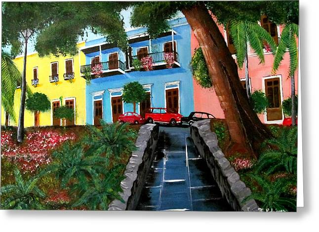 Street Hill In Old San Juan Greeting Card by Luis F Rodriguez