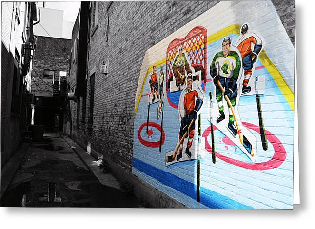 Ontario Sports Art Greeting Cards - Street Hockey Greeting Card by Christine Aylen