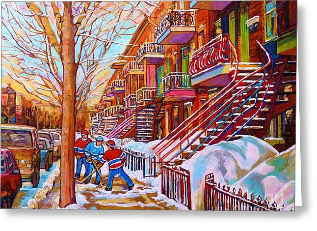 Montreal Hockey Scenes Greeting Cards - Street Hockey Game In Montreal Winter Scene With Winding Staircases Painting By Carole Spandau Greeting Card by Carole Spandau