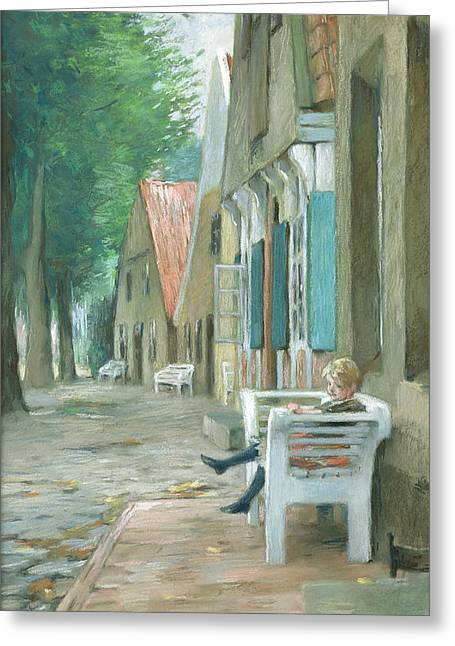 Town Photographs Greeting Cards - Street In Altenbruch, 1893 Pastel On Paper Greeting Card by Thomas Ludwig Herbst