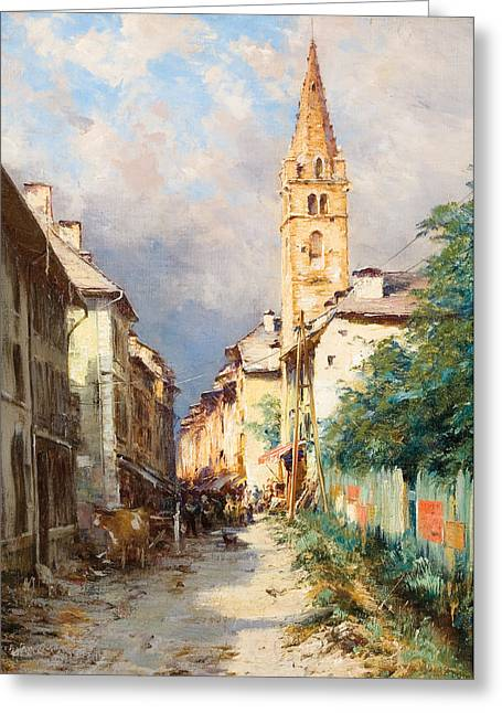 Village In France Greeting Cards - Street in Barcelonette Greeting Card by Charles Alexandre Bertier
