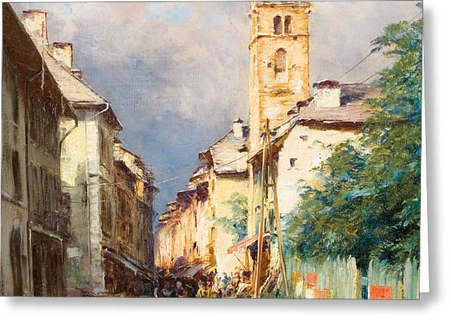 Street in Barcelonette Greeting Card by Charles Alexandre Bertier