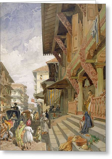Indian Drawings Greeting Cards - Street In Bombay, From India Ancient Greeting Card by William
